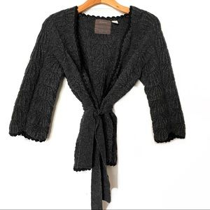 Anthropologie Guinevere Gray Belted Wool Cardigan